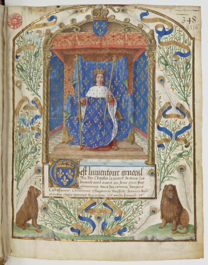 « Inventaire général » de la collection royale de Charles VI, miniature sur vélin du XVe siècle.