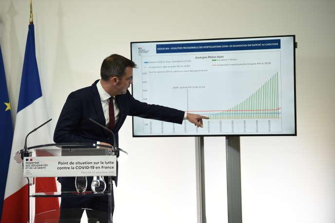 Le ministre de la santé Olivier Véran, lors d'une conférence de presse, à Paris, le 23 septembre 2020.