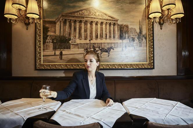 Aurore Bergé au Bourbon, à Paris, en septembre.