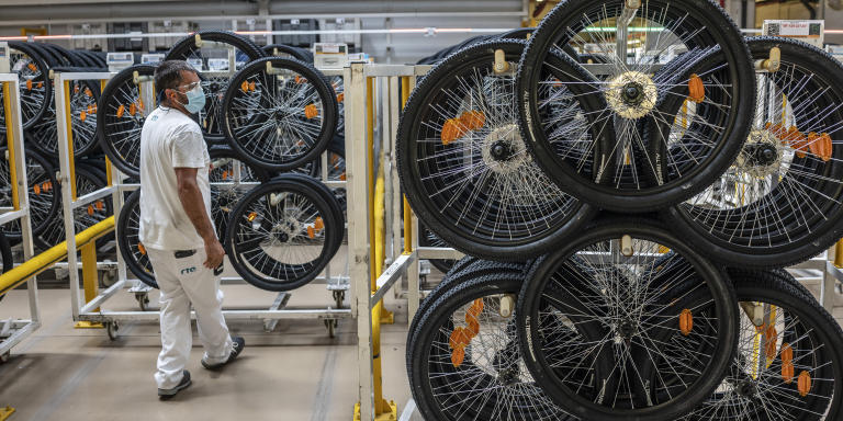 Workers of the RTE bicycle factory in Vila Nova de Gaia, Portugal. RTE is the largest bicycle factory in Europe, producing and assembling about 5000 bikes per day with 750 employees. Portugal is the top bicycle producer in Europe.