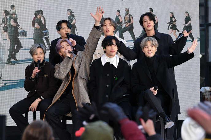 Les membres du groupe de K-pop BTS, à New York, le 21 février.