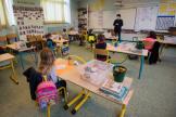 Une classe d'école primaire sur l'île de Groix, le 12 mai.