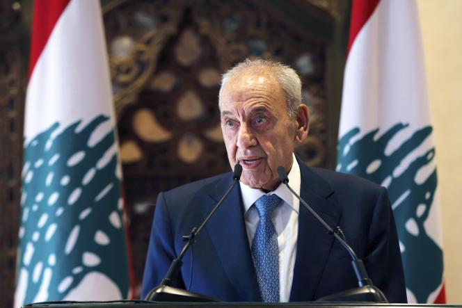 Le président du Parlement libanais, Nabih Berri, lors d'uneconférence de presse, à Beyrouth, au Liban, le jeudi 1er octobre.