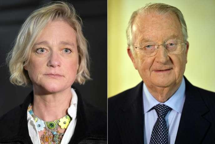 Delphine Boël (gauche), le 26 avril 2018, etl'ex-roi des Belges Albert II (droite), le 3 juillet 2013.
