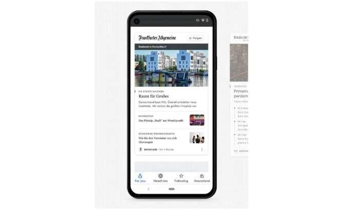 Exemple de contenu du journal allemand «Frankfurter Allgemeine Zeitung» sur le service Google News Showcase.
