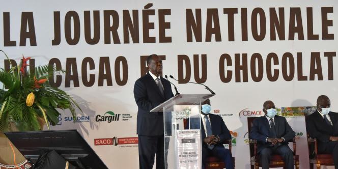 Alassane Ouattara, le 1er octobre 2020, à Yamoussoukro pour la Journée nationale du cacao et du chocolat.