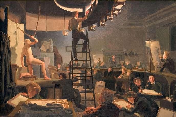 «La classe de modèle vivant à l'Académie des beaux-arts de Copenhague» (1826), deWilhelm Bendz. Huile sur toile, 57,7 x 82,5cm, Copenhague, Statens Museum for Kunst.