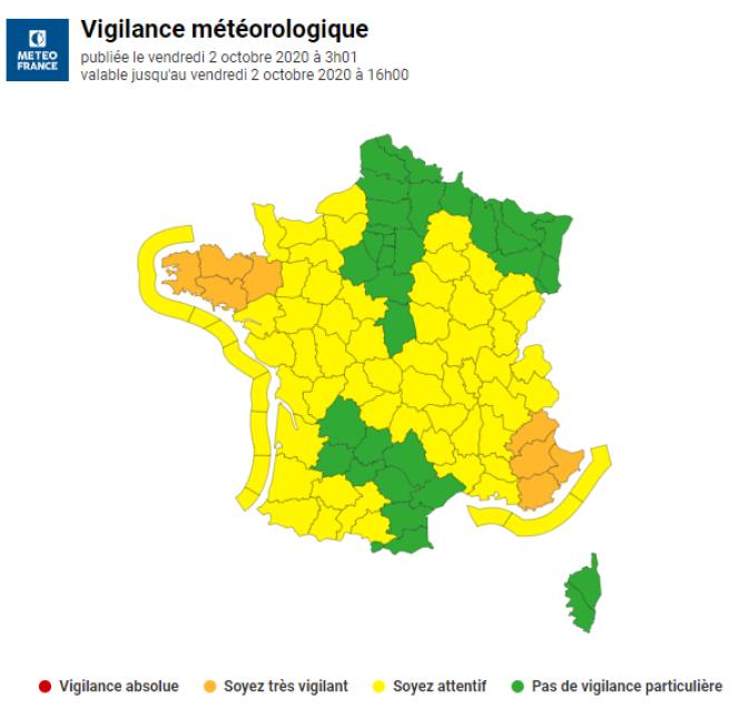 Deux départements bretons restent placés en vigilance orange par Météo-France.