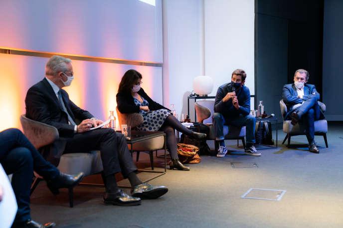(De gauche à droite) Bruno Le Maire, Cécile Duflot,Guillaume Gibault et Benoît Serre, le 1er octobre 2020.
