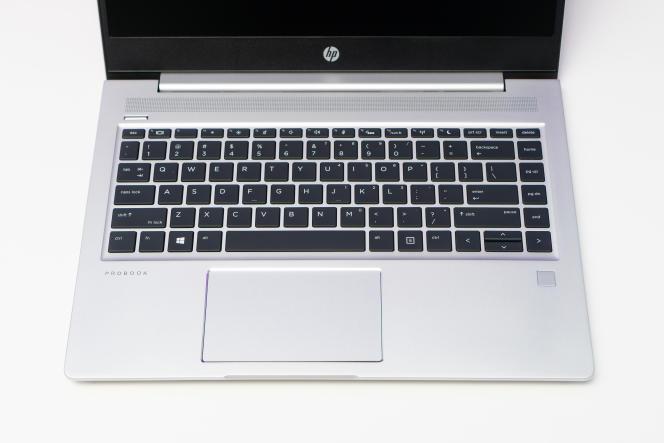 Le clavier du ProBook 445 G7 est confortable à utiliser, si l'on met de côté la forme bizarre des touches fléchées. Notez que le lecteur d'empreintes digitales est décoratif: il n'est pas proposé sur tous les modèles.