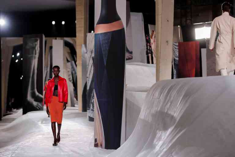 Models present creations by designer Nadege Vanhee-Cybulski as part of her Spring/Summer 2021 ready-to-wear collection show for fashion house Hermes, during Paris Fashion Week in Paris, France October 3, 2020. REUTERS/Benoit Tessier