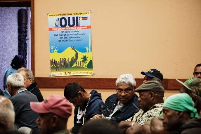 Lors d'une réunion de l'Union nationale pour l'indépendance (UNI) sur l'avenir de la Nouvelle-Calédonie en cas de «oui» le 28 septembre à Koné.