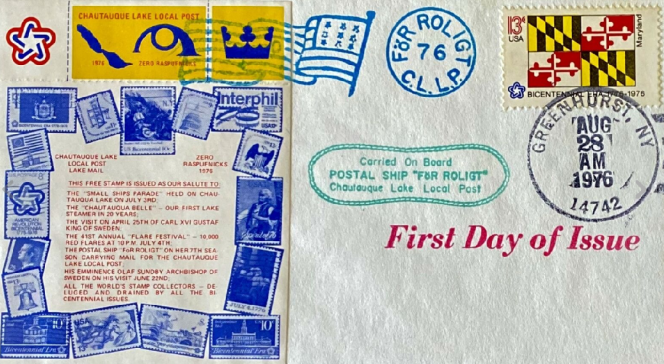 Une lettre passée par la poste locale de Chautauke en 1976.