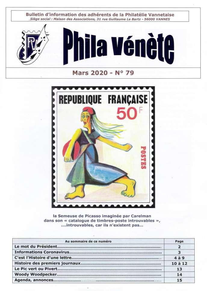«Phila Vénète», 16 pages, éditée par La Philatélie vannetaise.