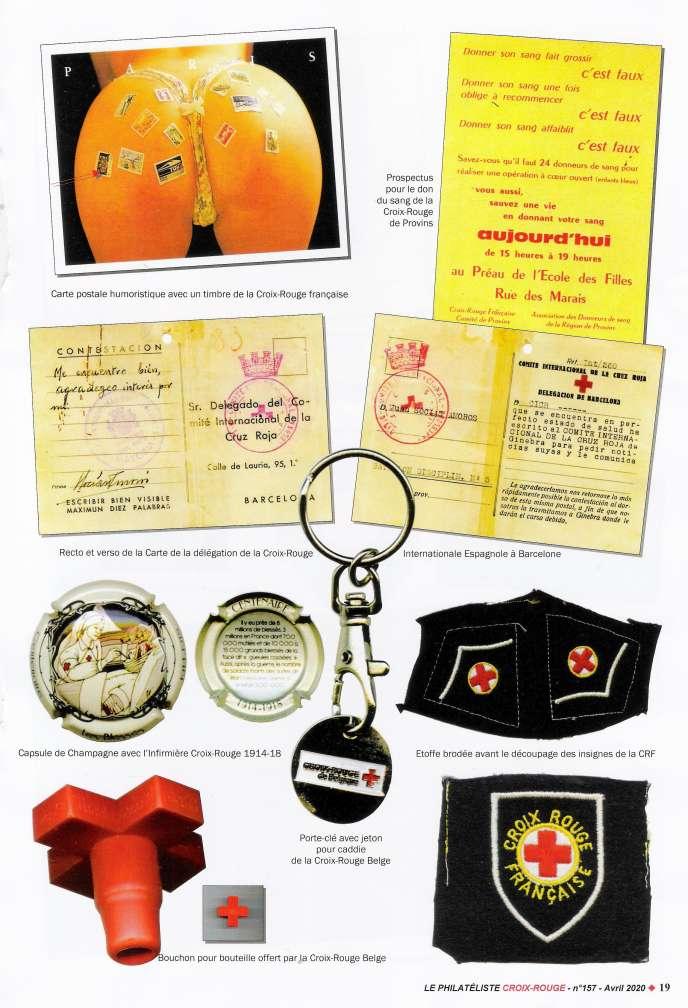 Divers objets de collection siglés Croix-Rouge.