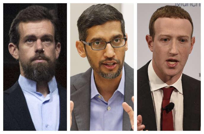 Jack Dorsey, Sundar Pichai et Mark Zuckerberg seront entendus le 28 octobre par le Congrès américain à Washington.