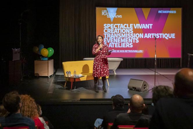 Laëtitia Guédon, directrice des Plateaux sauvages, lors de la présentation de la saison 2020-2021, à Paris, le 3 octobre.