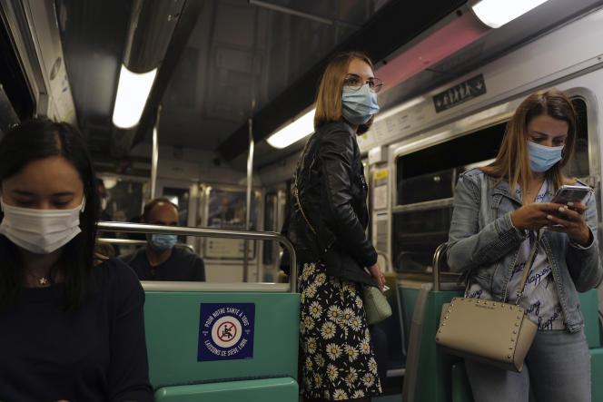 Dans un métro, à Paris, le 5 septembre 2020.
