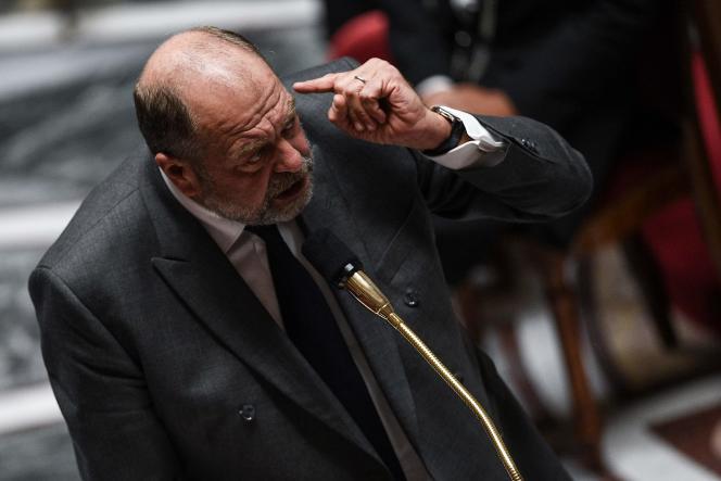 Le ministre de la justice, Eric Dupond-Moretti, s'adresse aux députés lors d'une séance de questions au gouvernement, le 6octobre2020, à l'Assemblée nationale, à Paris.