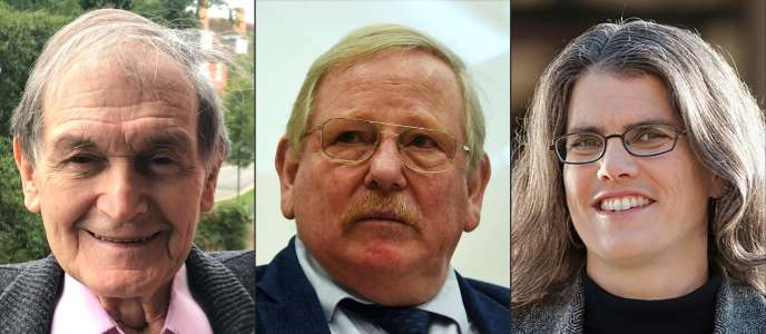 Roger Penrose, Reinhard Genzel et Andrea Ghez, prix Nobel de physique.