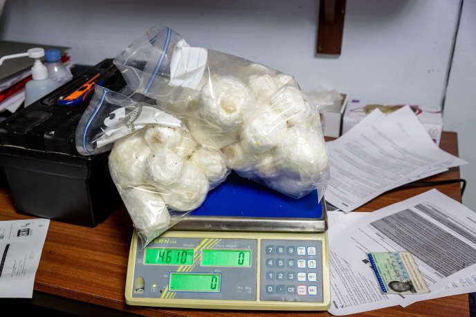 Des racines de dachine, remplies de cocaïne, saisies par la douane, à l'aéroport Félix-Eboué de Matoury (Guyane), le 27 janvier 2019.