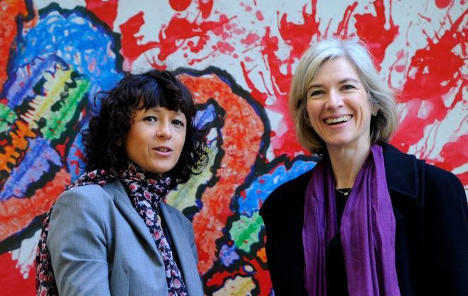 Les chercheuses Emmanuelle Charpentier et Jennifer Doudna, en octobre 2015.