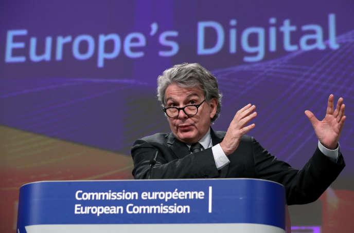 Le commissaire européen au marché intérieur, Thierry Breton, lors de la présentation de la stratégie numérique de la Commission européenne, le 19 février.