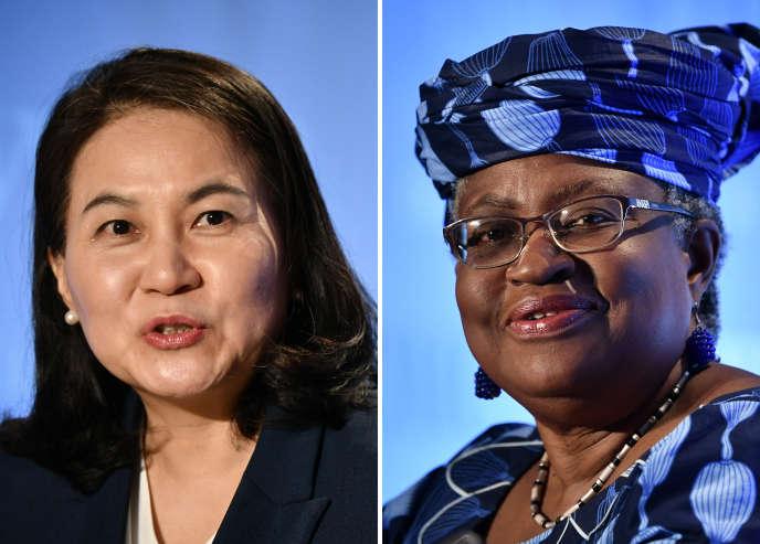 Deux femmes sont finalistes pour prendre la tête de l'Organisation mondiale du commerce (OMC) : la Sud-Coréenne Yoo Myung-hee et la Nigériane Ngozi Okonjo-Iweala, à Genève, le 15 juillet 2020.