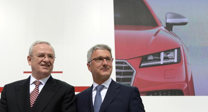 Les PDG de Volkswagen et d'Audi d'alors, en 2014, avant que leurs entreprises ne soient accusées de fraude dans le scandale du«dieselgate».