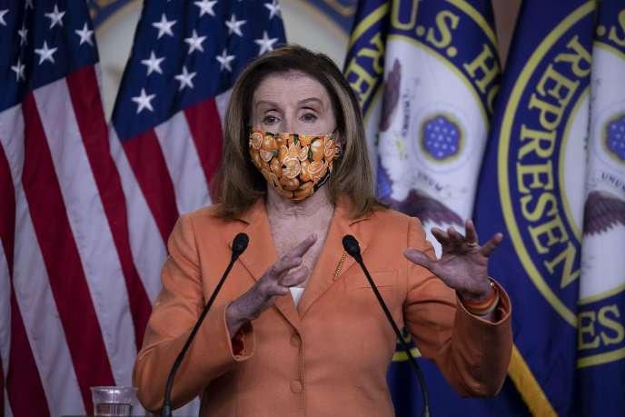 La présidente démocrate de la Chambre des représentants Nancy Pelosi, au Capitole de Washington, jeudi 8 octobre.