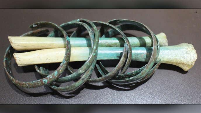 Restes d'un avant-brasdécouverts sur le site archéologique de La Hoya, dans le nord de l'Espagne.