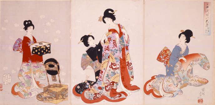 «Palais intérieur à Chiyoda – L'Habillage» (1894-1896), de Yoshu Chikanobu.