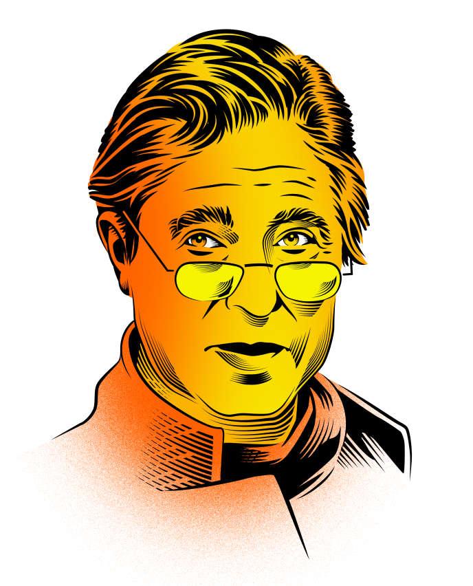 L'écrivain américain Robert Littell, dessiné par Yann Legendre.