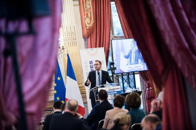 Le sénateur Bruno Retailleau, lors du séminaire des parlementaires LesRépublicains, à l'Assemblée nationale, le 8octobre.