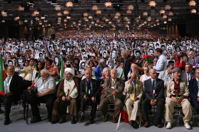 Le rassemblement annuel du Conseil national de la résistance iranienne, qui était visé par une bombe, à Villepinte (Seine-Saint-Denis), en juin 2018.