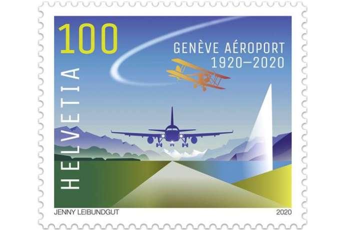 Timbre émis en Suisse pour le centenaire de l'aéroport de Genève.