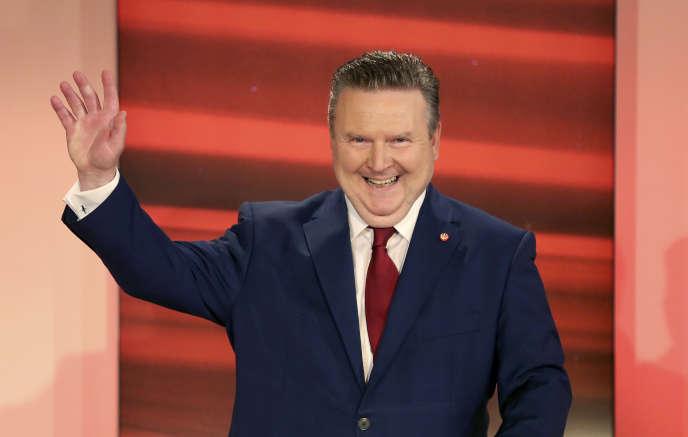 Le maire de Vienne Michael Ludwig du Parti social-démocrate SPO au début d'un débat télévisé pour les élections locales à Vienne, en Autriche, le dimanche 11 octobre 2020.
