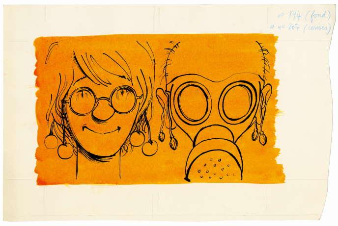 Projet de couverture pour «Le Grand Duduche en vacances» (1974).