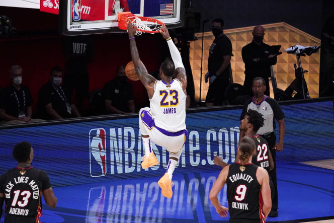 Lors du sixième match de la finale de la saison 2020-2021 de NBA entre les Lakers de Los Angeles et les Heat de Miami, le 11 octobreà Lake Buena Vista, en Floride.