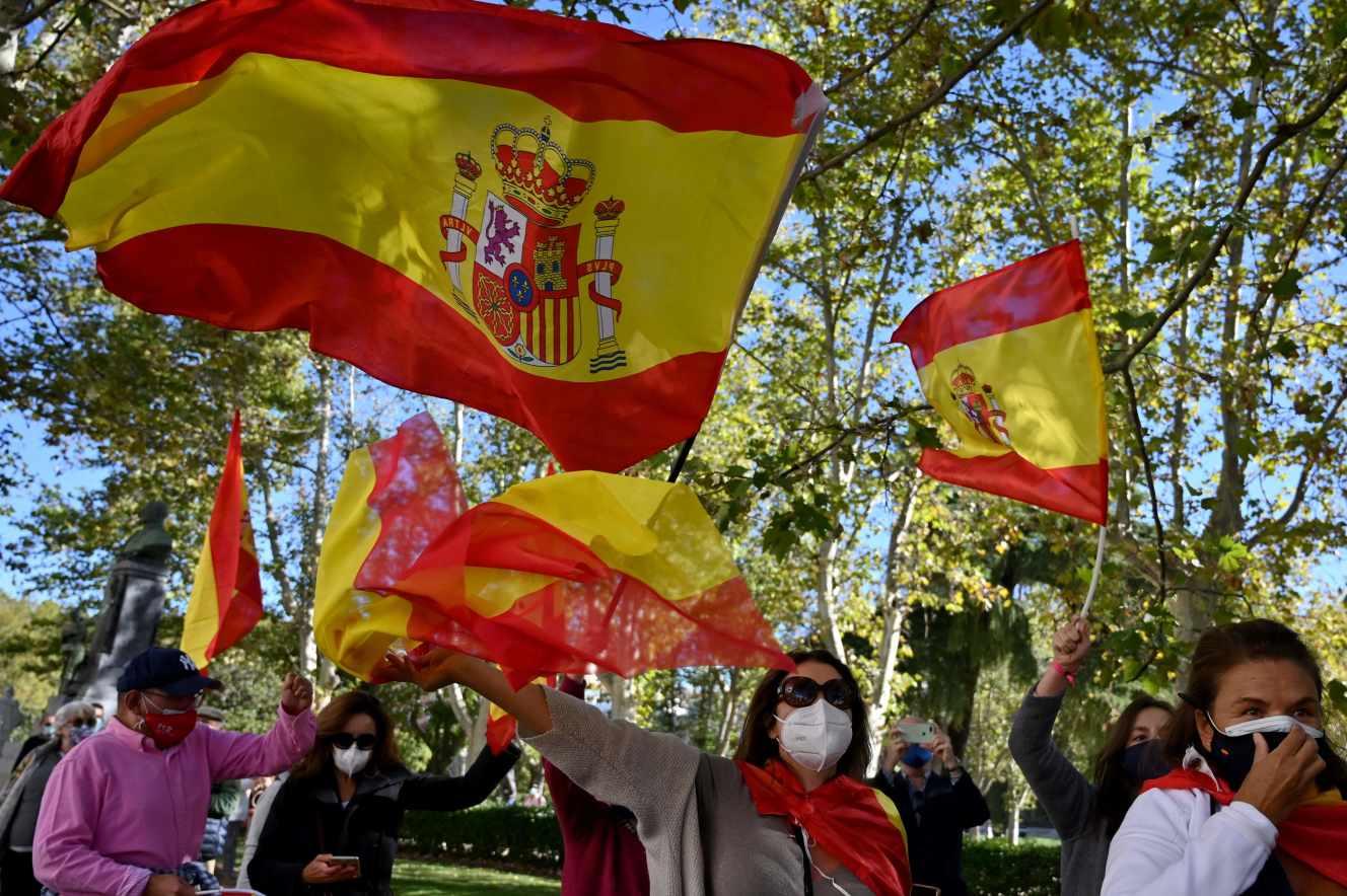 Dimostrazione contro la gestione del governo spagnolo dell'epidemia di coronavirus, a Madrid, 12 ottobre 2020.