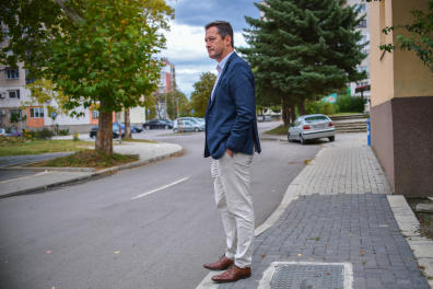 Mario Milanov looks at the street where Janek is seen for last time in Dupnitsa on October 1, 2020.