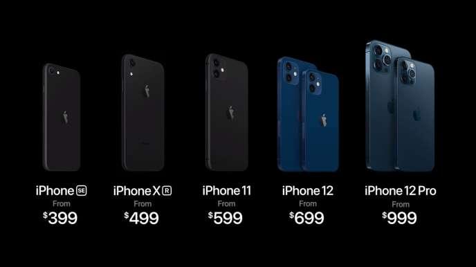 La nouvelle gamme iPhone dans son ensemble : trois modèles d'ancienne génération restent en vente.