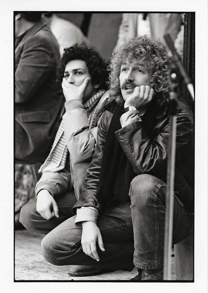 Michel Berger et Luc Plamondon lors d'un répétition de « Starmania».