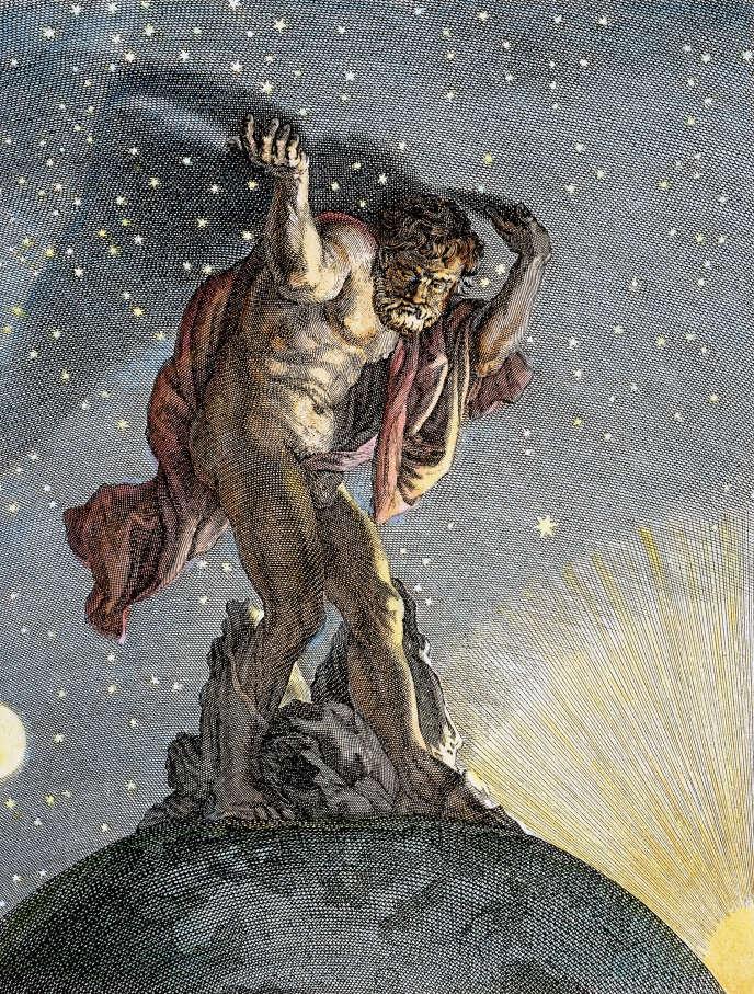 Le titan Atlas portant la voûte céleste sur ses épaules (Gravure de 1730).