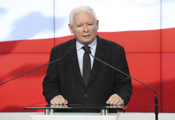 Jaroslaw Kaczynski, à Varsovie, le 13 octobre 2020.Le vice-premier ministre polonais a menacé de mettre son «veto» au plan de relance européen.