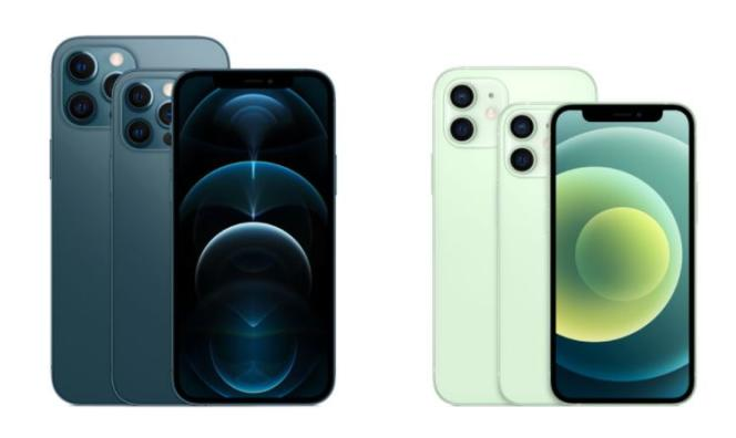 Les trois tailles des nouveaux iPhone 12 : les modèles Pro sont à gauche, les autres à droite.