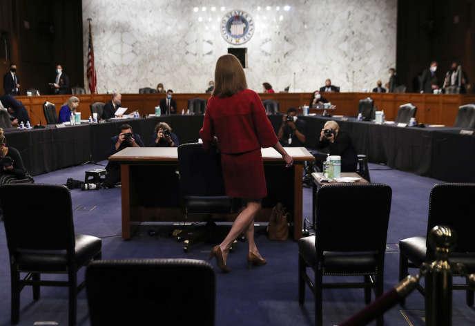 La candidate choisie par Donald Trump pour la Cour suprême, Amy Coney Barrett, lors de son audition au Sénat à Washington, le 13 octobre.