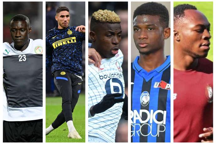 De gauche à droite : le Sénégalais Alfred Gomis, le MarocainAchraf Hakimi, le NigérianVictor Osimhen, l'Ivoirien Amad Traoré et le Congolais Jackson Muleka.