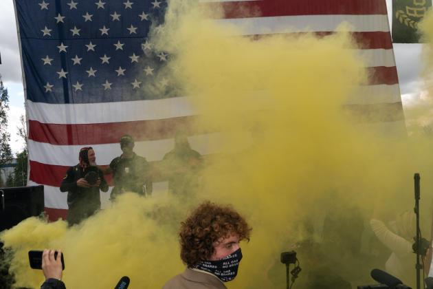 Manifestation des Proud Boys, groupuscule d'extrème droite, le 26 septembre, à Portland (Oregon).