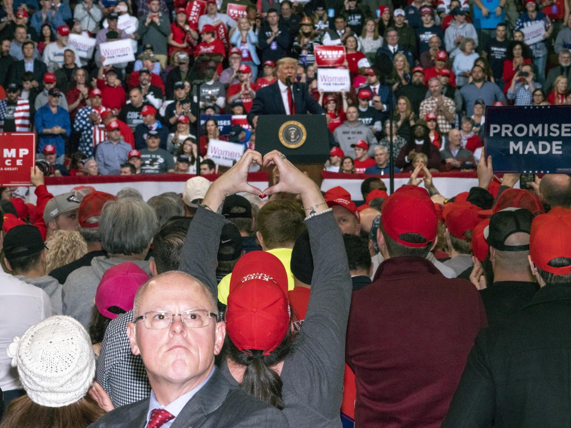 A Manchester (New Hampshire) le 11 février, le président Donald Trump organise un rassemblement pendant la campagne des primaires.